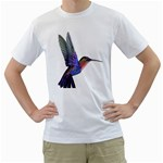 Rainbow Hummingbird Men s T-Shirt (White) (Two Sided)
