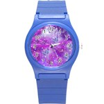 Starlight Of Butterflies Round Plastic Sport Watch Small