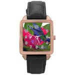Feeding Hummingbird Rose Gold Leather Watch
