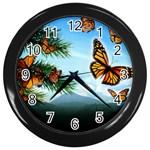 Butterflies in Flight Wall Clock (Black)