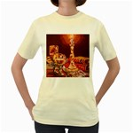 Bookworm Needlepoint Print Women s T-shirt (Yellow)