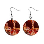 Bookworm Needlepoint Print Mini Button Earrings