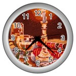 Bookworm Needlepoint Print Wall Clock (Silver)