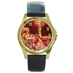 Bookworm Needlepoint Print Round Leather Watch (Gold Rim)