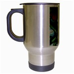 Hummingbird On Stain Glass Travel Mug (Silver Gray)