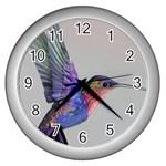 Hummingbird in Flilght Wall Clock (Silver)