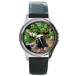 Majestic Moose Round Leather Watch (Silver Rim)