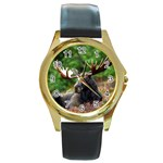 Majestic Moose Round Leather Watch (Gold Rim)
