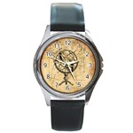 Discover The World Round Leather Watch (Silver Rim)