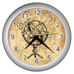 Discover The World Wall Clock (Silver)