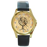 Discover The World Round Leather Watch (Gold Rim)