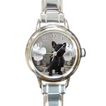 French Bulldog Round Italian Charm Watch