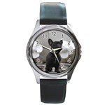 French Bulldog Round Leather Watch (Silver Rim)