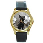 French Bulldog Round Leather Watch (Gold Rim)