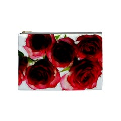 Pink And Red Roses On White Cosmetic Bag (medium) by bloomingvinedesign