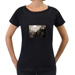 Ghosts in the Machine Goth Horror Maternity Black T-Shirt