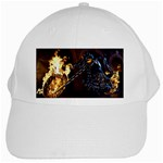 Dark Motorcycle Demon on Fire White Cap