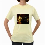 Dark Motorcycle Demon on Fire Women s Yellow T-Shirt