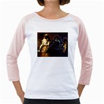 Dark Motorcycle Demon on Fire Girly Raglan