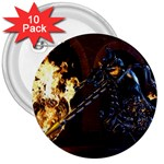 Dark Motorcycle Demon on Fire 3  Button (10 pack)