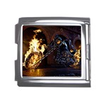 Dark Motorcycle Demon on Fire Mega Link Italian Charm (18mm)