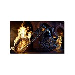 Dark Motorcycle Demon on Fire Sticker (Rectangular)