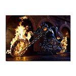 Dark Motorcycle Demon on Fire Sticker (A4)