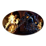 Dark Motorcycle Demon on Fire Magnet (Oval)