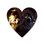 Dark Motorcycle Demon on Fire Magnet (Heart)