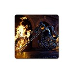 Dark Motorcycle Demon on Fire Magnet (Square)