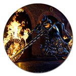 Dark Motorcycle Demon on Fire Magnet 5  (Round)
