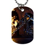 Dark Motorcycle Demon on Fire Dog Tag (One Side)