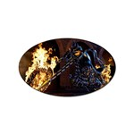 Dark Motorcycle Demon on Fire Sticker Oval (10 pack)