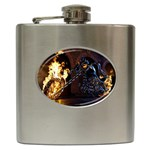 Dark Motorcycle Demon on Fire Hip Flask (6 oz)