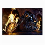 Dark Motorcycle Demon on Fire Postcard 5  x 7