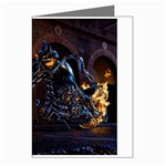 Dark Motorcycle Demon on Fire Greeting Card