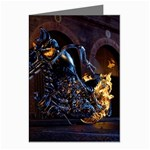 Dark Motorcycle Demon on Fire Greeting Cards (Pkg of 8)