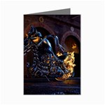 Dark Motorcycle Demon on Fire Mini Greeting Card