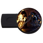 Dark Motorcycle Demon on Fire USB Flash Drive Round (2 GB)