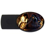 Dark Motorcycle Demon on Fire USB Flash Drive Oval (2 GB)