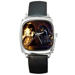 Dark Motorcycle Demon on Fire Square Metal Watch