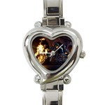 Dark Motorcycle Demon on Fire Heart Italian Charm Watch
