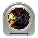 Dark Motorcycle Demon on Fire Travel Alarm Clock