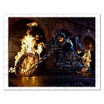 Dark Motorcycle Demon on Fire Jigsaw Puzzle (Rectangular)