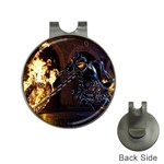 Dark Motorcycle Demon on Fire Golf Ball Marker Hat Clip