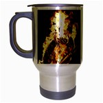 Dark Motorcycle Demon on Fire Travel Mug (Silver Gray)