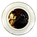 Dark Motorcycle Demon on Fire Porcelain Plate