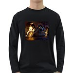Dark Motorcycle Demon on Fire Long Sleeve Dark T-Shirt