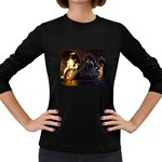 Dark Motorcycle Demon on Fire Women s Long Sleeve Dark T-Shirt