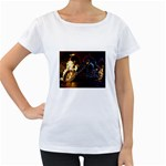 Dark Motorcycle Demon on Fire Maternity White T-Shirt